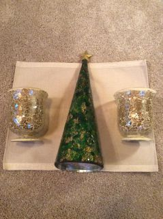 "17"" crackle glass tree and 6"" tall candle holders set"