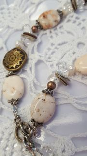 """Vintage Natural Stones, Fresh Water Pearls, Shell Necklace"""