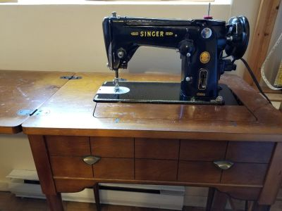 Vintage Singer Sewing Machine built into Table