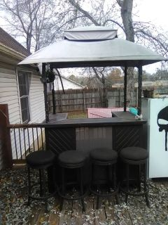 Outside bar and four stools