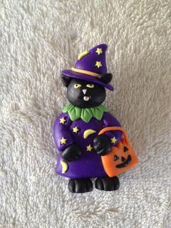 Cat Witch Halloween Pin, NEW