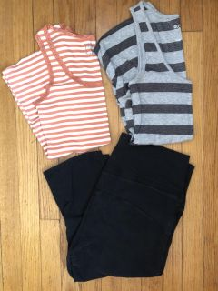 Maternity activewear crop pants and tanks M/L