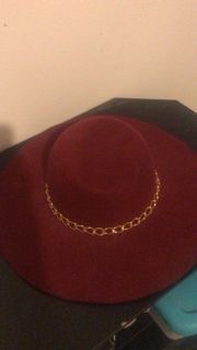 Burgundy ( or wine ) and gold women hat
