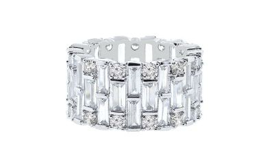 ***TODAY***Baguette Swarovski Crystals Eternity Ring: 9***BRAND NEW