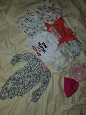 Newborn onesies, 2 hats, long sleeved onesies with hand covers