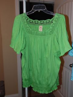 lime green top with elastic at bottom