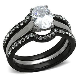 Chic Black & Silver Engagement Ring + Bonus Wedding Set AAA CZ sizes 5-10