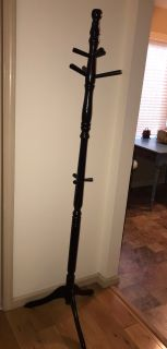 Black painted wood hall tree coat rack standing clothes closet