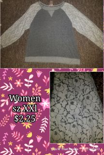 Women's XXl shirt with lace sleeves!