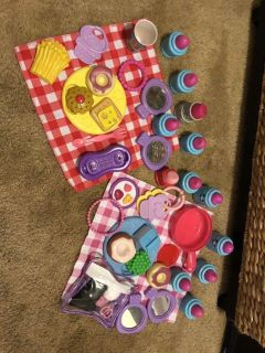 Little girl picnic and makeup set with mini sewing kit