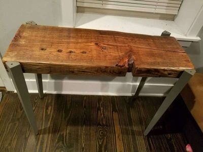 Wood end table / entry way table custom made from all reclaimed materials