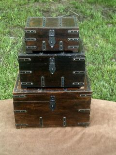 """Pirate Treasure Chest 16"""" Nested Wooden Storage Boxes Set of 3 Nautical Decor"""