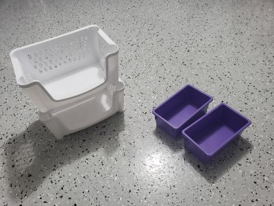 Storage containers two white stackable and two purple one price for all