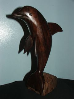 Beautiful Dolphin Carved Wooden Sculpture Figurine