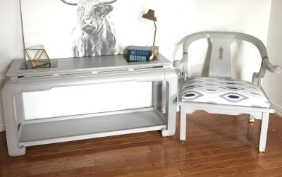 Hand Painted Vintage Entry/Sofa Table and Chair