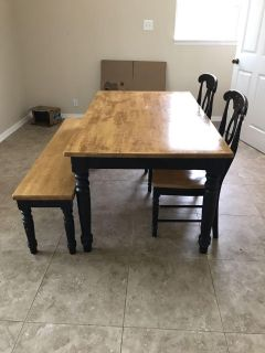 Kitchen table with bench and chairs