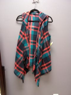 New with tags sz sm plaid hooded vest