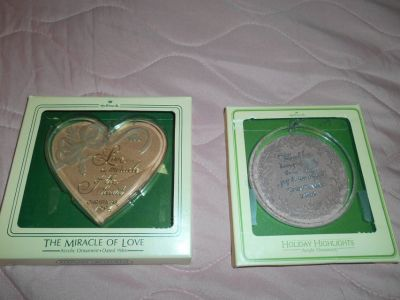 2 Boxed HALLMARK Acrylic Ornaments! 1980 & 1984 LOVE & FRIENDSHIP