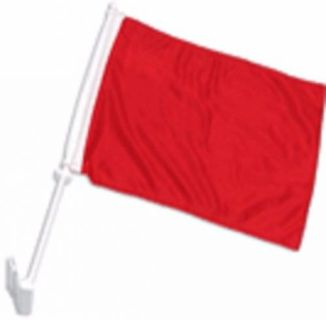 "Sell Solid Red Decor CAR FLAG 12"" x 15"" x 16-1/2"" Window Roll Up Banner + pole motorcycle in Castle Rock, Washington, United States, for US $10.95"