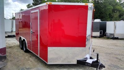 8.5 x 16 Red Enclosed Cargo Trailer