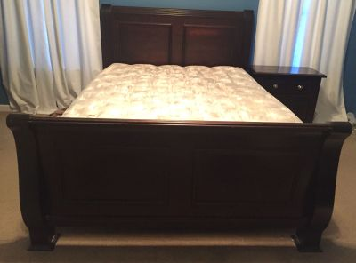 Queen sleigh bed frame and matching nightstand