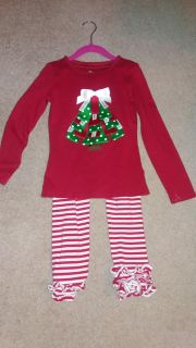 Christmas outfit size 7/8 EUC with ruffle pants
