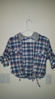 Super cute button up plad top with hoodie