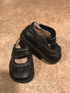 See Kai Run Black leather shoes size 3 baby girl asking $8