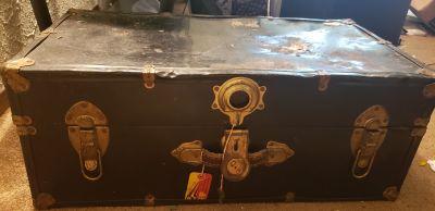 Genuine antique metal black chest