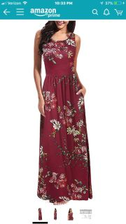 Size Large Sleeveless Maxi Dress, Crew Neck Summer Floral Casual Long Dress with Pockets.
