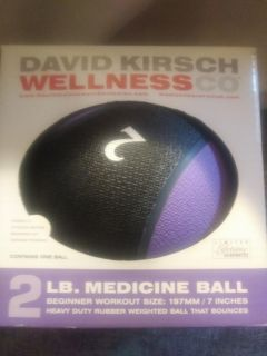 New in box, David Kitsch Wellness Co., 2 lb. Medicine Ball. Beginner workout size: 197 mm/7 inches. Heavy Duty Rubber, bouncy&weighted ball
