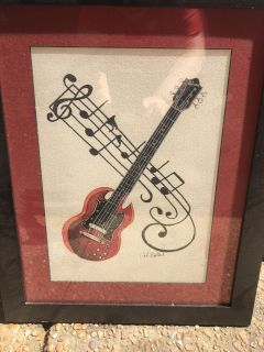 Signed Gibson Guitar Painting