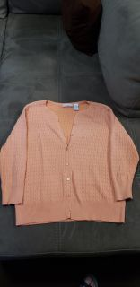Cute Peach Colored Button Up Sweater Size Large 100% Cotton. Excellent Condition