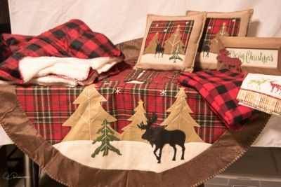 NORTH WOODS--Christmas tree skirt, two throws, two pillows, table cloth and two kitchen towels