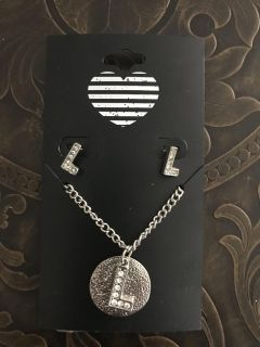L necklace and earrings