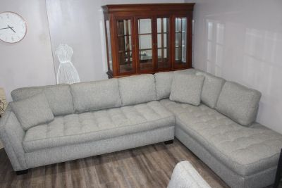Sectional- Tufted design- grey fabric- Loveseat Included