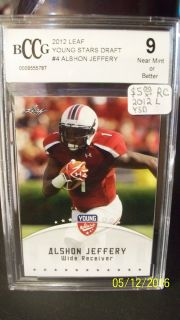 2012 Leaf Young Stars Draft Rookie Card Alshon Jeffery BCCG 9 Graded