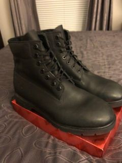 **Brand New Authentic Timberlands Waterproof Black Smooth Leather Boots size 10.5W**