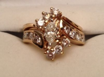 Ladies 14KY Marquise Wedding Set
