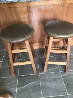 Wood barstools with upholstered seats