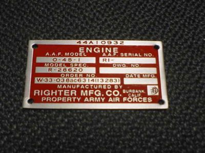Find Righter Aircraft Drone Engine Data Plate Acid Etched 1940s- 1950s Army Air Force motorcycle in Veradale, Washington, United States, for US $110.00