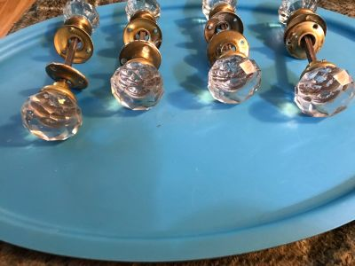 Antique 4 sets of glass and brass door knobs