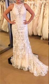 April's Halter Top Lace Sheath Wedding Dress