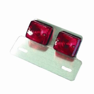 Sell Bike-It Red Motorcycle Rear Tail Light Universal Chrome Twin Square motorcycle in Ashton, Illinois, US, for US $19.99