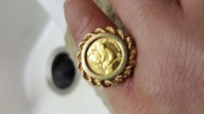 24k gold panda coin ring