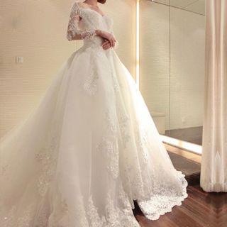 Jessica's 2 A Line White Appliqué Beading Wedding Gown Detachable Skirt