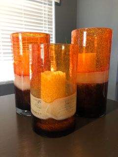 Glass blown candle holders
