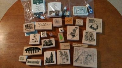 Rubber stamps & ink pads w/ ink
