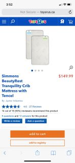 Simmons BeautyRest Tranquillity Crib Mattress with Tencel