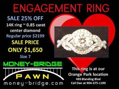 14K Engagement Ring 0.85 carat center diamond, size 7